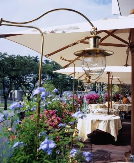 Stock Photo: 4034-39600 Tokyo midtown, Garden terrace, restaurant, Minato Ward, Tokyo, Kanto, Japan, July