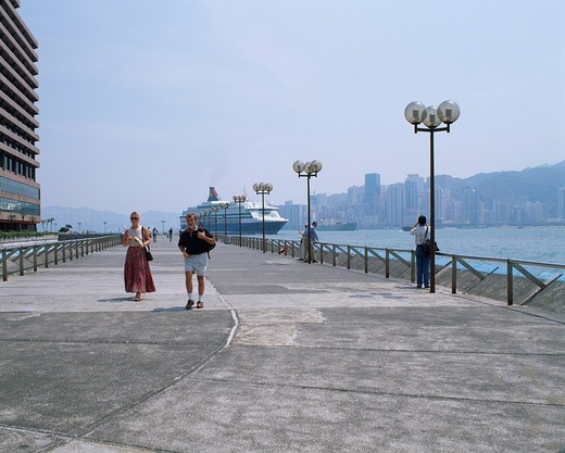 Tsim Sha Tsui promenade Large_sized luxury liner Kowloon Hong Kong : Stock Photo