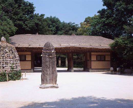 Suwon Korean Folk Village South Korea Forest Tree Stone monument : Stock Photo