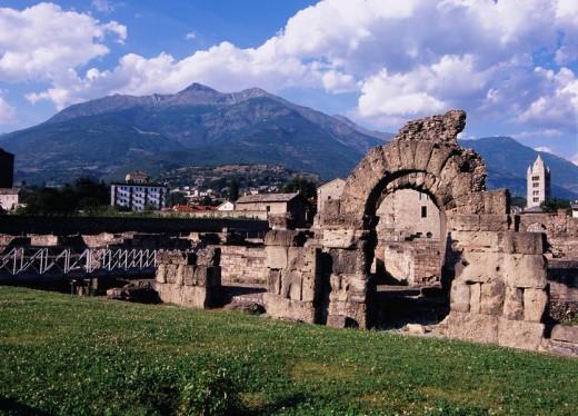Stock Photo: 4034-40871 Rome amphitheater, Aosta, Italy, Europe