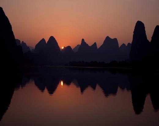 Morning, Guilin Shanshui, Yangshuo, Guangxi, China : Stock Photo