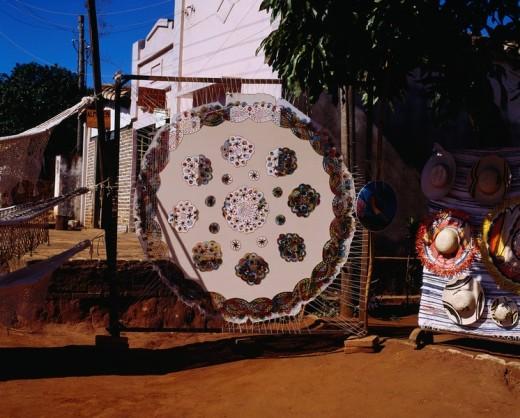 Guarani Lace stitch , Folkcraft, Itauga, Paraguay : Stock Photo