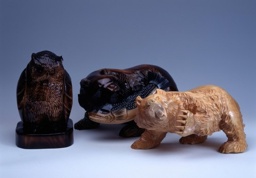 Wood carving folkcraft Kamikawa Hokkaido Japan : Stock Photo