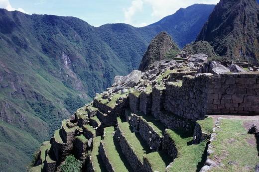 Gradual Field, Aeropolice, Ruins of Inca, Machu Picchu, Peru, Central South America, World Heritage : Stock Photo