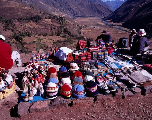 Souvenir store Souvenir Cuzco suburbs Peru Folkcraft Mountain Tree Field Hat People : Stock Photo