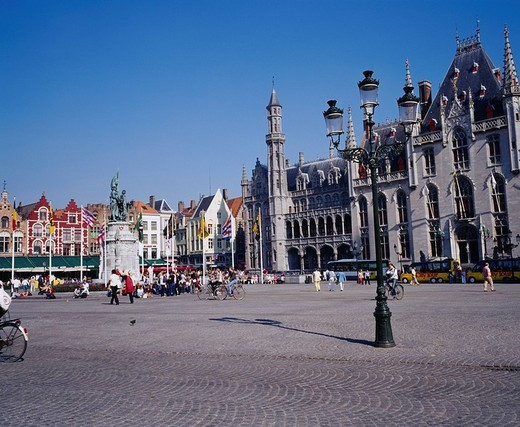 Market Square, City Hall, City View, Bruges, Belgium, World Heritage : Stock Photo