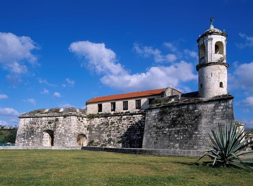 Stock Photo: 4034-44430 Felsa fort World Heritage Havana Cuba Blue sky Clouds Building Tree Green Lawn