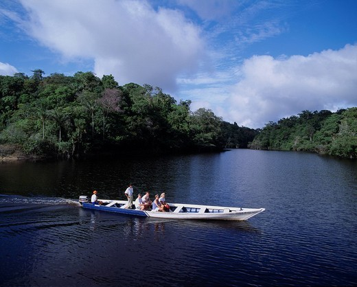 Amazon river excursion Brazil Blue sky Clouds Boat People Tree Forest : Stock Photo