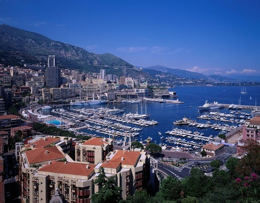 Monaco port City View Monaco Blue sky Clouds Harbor Ship City View Sea : Stock Photo