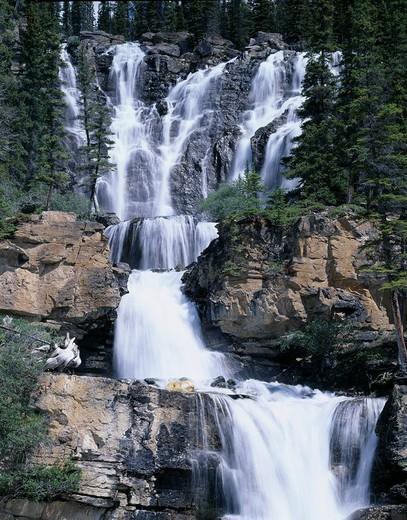 Tangle waterfall Jasper National Park Rockies Canada : Stock Photo