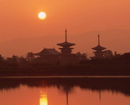 Morning Sun, Yakushiji, Nara, Japan : Stock Photo