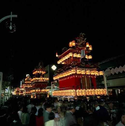 Takayama Festival, Evening festival, Sennindai, Gifu, Japan : Stock Photo