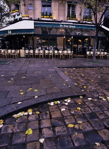 Cafe Deux Magots of a rainy day Paris France Sidewalk Fallen leaves Yellow Chair : Stock Photo
