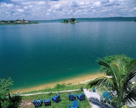 Stock Photo: 4034-46806 Peten lake In Florence Guatemala Sky Clouds Mountain Tree Lake Chair
