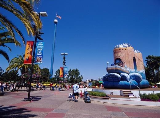 Sea world blue sky San Diego California, Sky Tree People Streetlight North America, USA, United States of America : Stock Photo