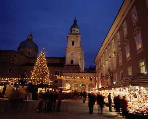 Residence Square, Christmas market, Salzburg, Austria, World Heritage : Stock Photo