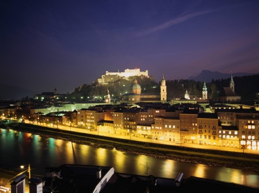 World Heritage Salzburg Night view Zalzach river Hohensaltzburg castle Austria : Stock Photo