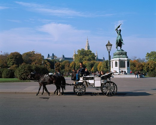 A warrior´s forum Sightseeing carriage Vienna Austria : Stock Photo