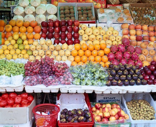 Fruit, Exhibition, chinese market, open market, foods, Fruit, Fujian, Xiamen, China : Stock Photo