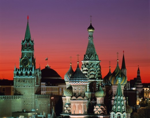 Saint Washire buddhist temple Spascaya tower evening Moscow Russia World heritage Sky Tower Evening glow Gradation : Stock Photo