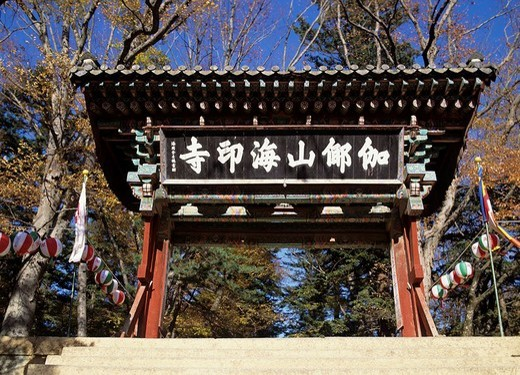Haeinsa Temple World Heritage Kyongju South Korea Blue sky Tree Plant Paper lantern Temple Temple : Stock Photo