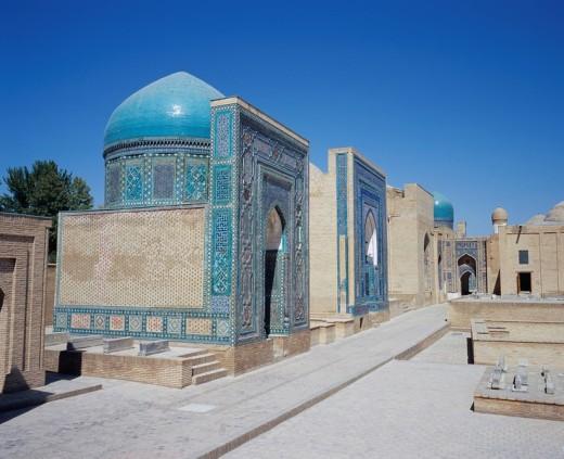 Garzizardelume mausoleum, Sharhizindar mausoleum group, Samarkand, Uzbekistan : Stock Photo