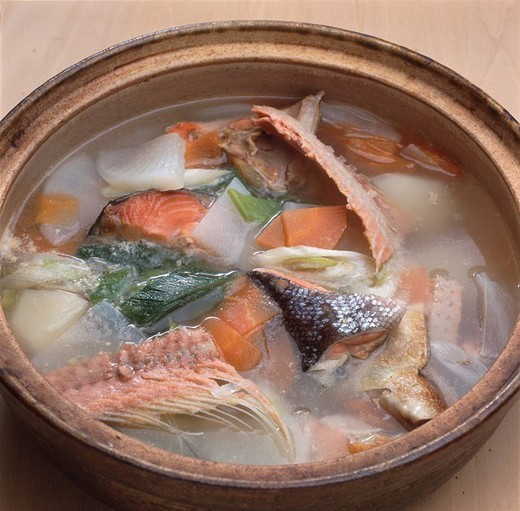 Sanpei Sanpeijiru soup Dish Japan Pan Salmon Chinese radish Carrot Leek Vegetable Fish Japanese Cuisine : Stock Photo