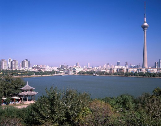 Shuishang park, Sky Tower, Tianjin, HebeiSheng, China, tower, architecture, water surface, city view, building, tower, November : Stock Photo
