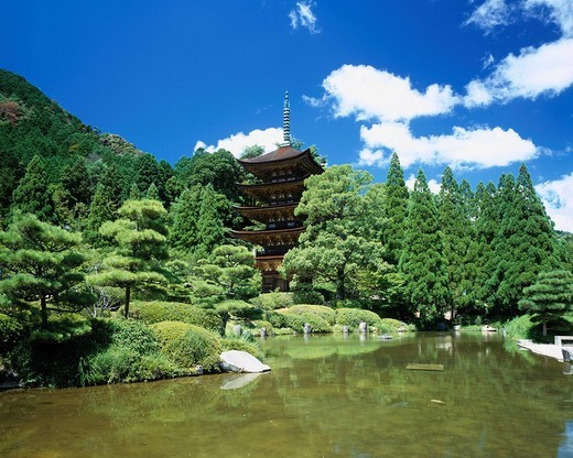 Rurikoji, Temple, Five storied tower, Yamaguchi, Japan : Stock Photo