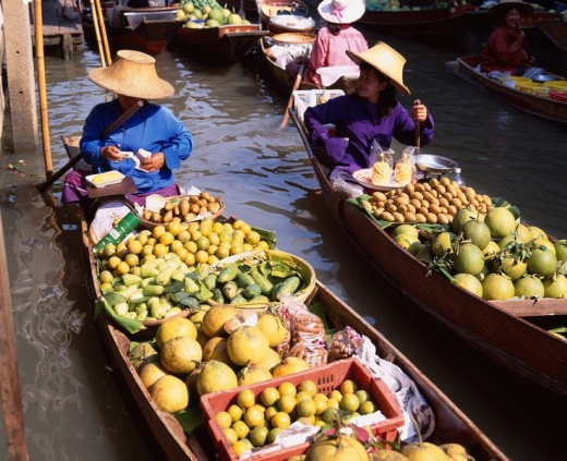 Damnoen saduak floating market Bangkok Thailand Fruit Ship River February : Stock Photo