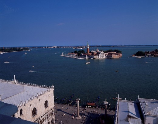 Sun Giorgio Maggiore church, Bell tower, Venice, Venezia, Italy : Stock Photo