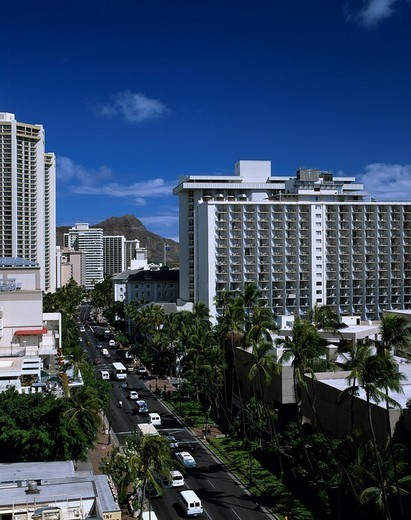 Kalakaua passage Waikiki Oahu Hawaii Blue sky Clouds Building Tree Way Road Car : Stock Photo