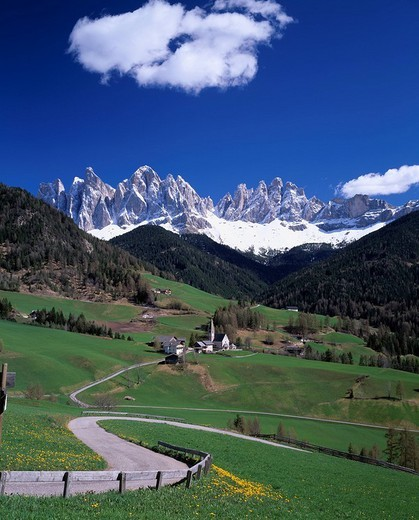 Stock Photo: 4034-56124 Maddalena church, Alps, Funes, Valley, Dolomiti, Italy