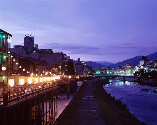 Kamogawa Kamo River summer evening Kyoto Japan Sky Paper lantern River Bridge People Town light : Stock Photo