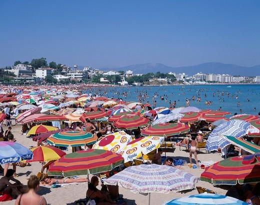 Stock Photo: 4034-56662 Golden sand beach Between Bodrum Kusadasi The Aegean Sea coast district Turkey