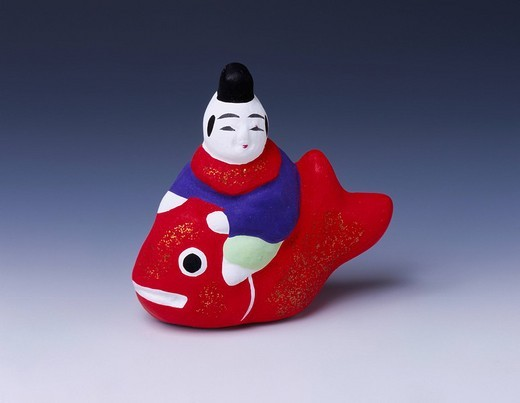 Toyama clay figure, sea bream riding child, Toyama, Toyama, Hokuriku, Japan, July : Stock Photo