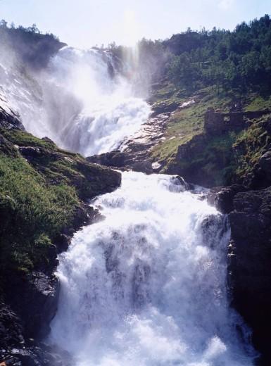 Myrdal´s waterfall Sogne Fjord Norway Sky Mountain Tree Waterfall : Stock Photo