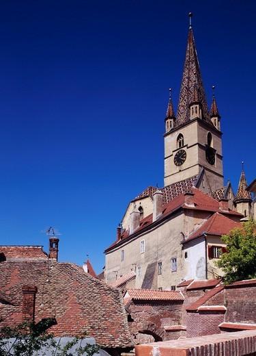 Gospel church, church, Shibiu, Romania, Europe, June : Stock Photo