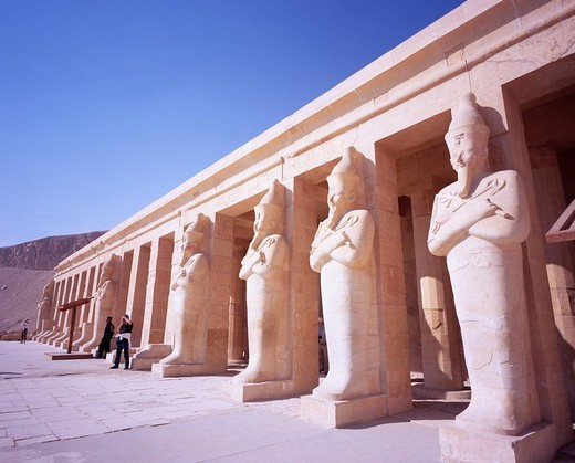 Stock Photo: 4034-59286 Osiris pillar Mortuary Temple of Hatshepsut Luxor Egypt World Heritage