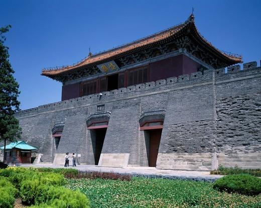 Taishan, Daimiao, Qianmen, Taian, Shandong, China, blue sky, architecture, grass, flower, plant, green, May : Stock Photo