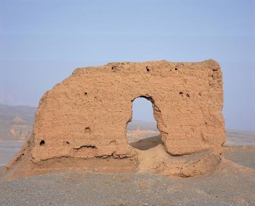 West temple, Subashi castle, Kucha, Xinjiang Uygur Autonomous Region, China : Stock Photo