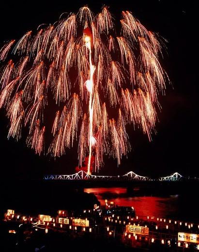 Stock Photo: 4034-61365 Nagaoka, Fireworks, Nagaoka, Niigata, Japan
