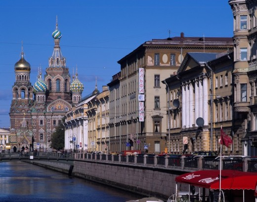 A canal and church on blood revival church World Heritage St Petersburg Russia Sky Canal Ship City View Car : Stock Photo