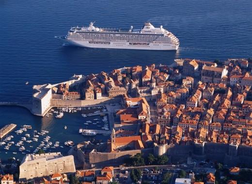 Stock Photo: 4034-62853 Old city Cruise ship Dubrovnik Croatia World Heritage Ship Vehicle, Transportation Vehicle, Transportation Traffic Ship Traffic Vehicle, Transportation Vehicle, Transportation
