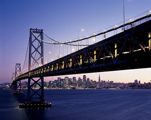 Stock Photo: 4034-62893 Bay Bridge, San Francisco, Night View, United States of America