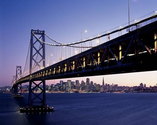 Bay Bridge, San Francisco, Night View, United States of America : Stock Photo