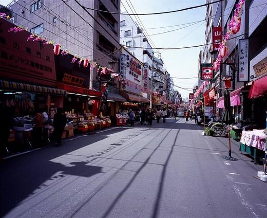 Sugamojizo street shopping road Toshima Tokyo Japan Sky Building Way Road Paper lantern Store People : Stock Photo