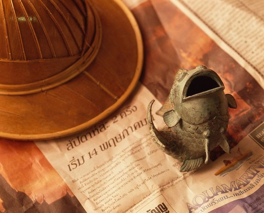 Concept Thailand Souvenir Hat Ornament Newspaper Fish : Stock Photo