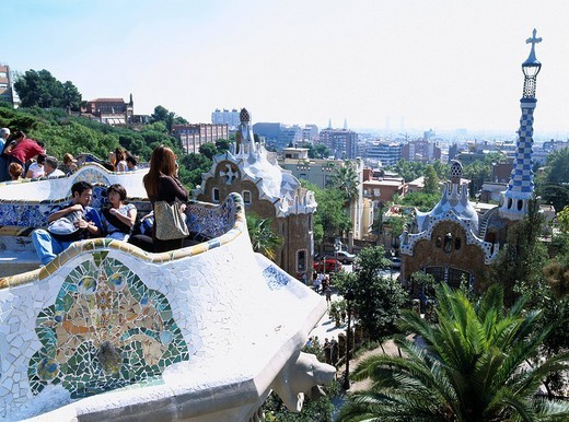 Park Guell, Barcelona, Spain, World Heritage, city view, Cross, Gaudi, bench, Mosaic, October : Stock Photo