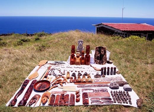 Orongo cape Also souvenir Street stall Easter Island Chile Cape Sea Blue sky Hut Folkcraft : Stock Photo